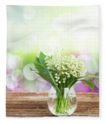 Lilly Of Valley Posy In Glass Fleece Blanket