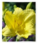 Lily Flower Art Print Canvas Yellow Lilies Baslee Troutman Fleece Blanket