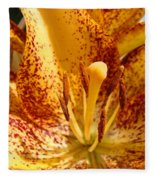 Lily Flower Macro Orange Lilies Floral Art Print Baslee Troutman Fleece Blanket