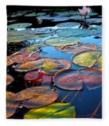 Lily Pads At Sunset Fleece Blanket