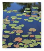 Lily Pads On Blue Pond Fleece Blanket