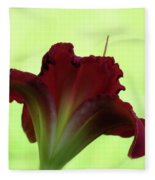 Lily Red On Green Fleece Blanket