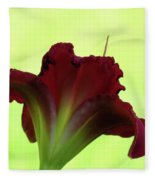 Lily Red On Yellow Green - Daylily Fleece Blanket