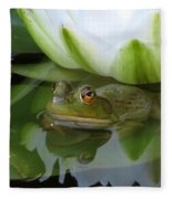 Lilyfrog - Frog With Water Lily Fleece Blanket