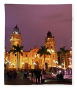 Lima Cathedral And Plaza De Armas At Night Fleece Blanket