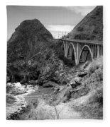 Lime Creek Bridge Highway 1 Big Sur Ca B And W Fleece Blanket