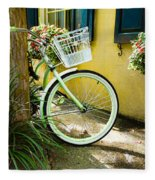 Lime Green Bike Fleece Blanket