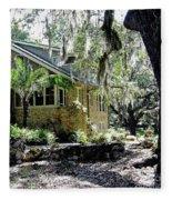 Limestone Home In The Trees Fleece Blanket