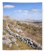 Limestone Pavements And Dry-stone Walls, Fahee North, Burren, County Clare, Ireland Fleece Blanket