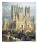 Lincoln Cathedral From The North West Fleece Blanket