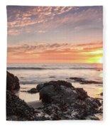 Lincoln City Beach Sunset - Oregon Coast Fleece Blanket