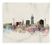 Lincoln Nebraska Skyline Fleece Blanket