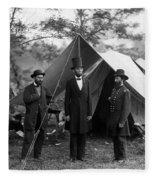 Lincoln With Allan Pinkerton - Battle Of Antietam - 1862 Fleece Blanket