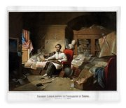 Lincoln Writing The Emancipation Proclamation Fleece Blanket