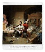 Lincoln Writing The Emancipation Proclamation Fleece Blanket
