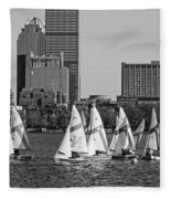 Line Of Boats On The Charles River Boston Ma Black And White Fleece Blanket