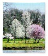 Line Of Flowering Trees Fleece Blanket
