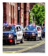 Line Of Police Cars Fleece Blanket