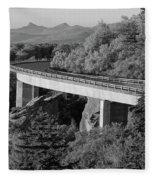 Linn Cove Viaduct Black And White Fleece Blanket