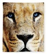 Lion Art - Blue Eyed King Fleece Blanket