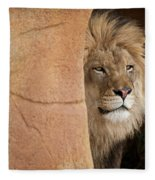 Lion Emerging    Captive Fleece Blanket