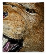 Lion Fractal Fleece Blanket