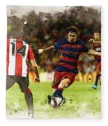 Lionel Messi Challenges The Athletic Bilbao Defense Fleece Blanket