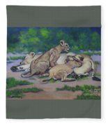 Lioness With Cubs Fleece Blanket