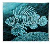 Lionfish On Blue Fleece Blanket