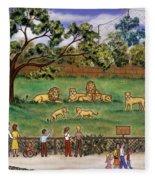 Lions At The Zoo Fleece Blanket