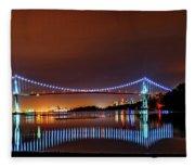Lions Gate Bridge At Night 2 Fleece Blanket