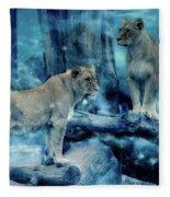 Lions Of The Mist Fleece Blanket