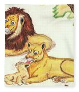 Lions Of The Tree Fleece Blanket