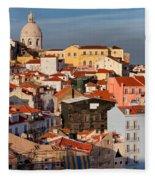 Lisbon Cityscape In Portugal At Sunset Fleece Blanket