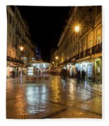 Lisbon Portugal Night Magic - Nighttime Shopping In Baixa Pombalina Fleece Blanket