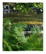 Listen To The Babbling Brook - Green Summer Zen Fleece Blanket