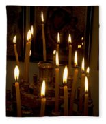 lit Candles in church  Fleece Blanket