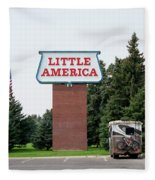 Little America Hotel Signage Vertical Fleece Blanket