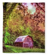 Little Barn In The Smokies Fleece Blanket