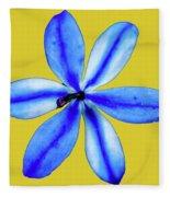 Little Blue Flower On A Yellow Background Fleece Blanket