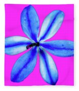 Little Blue Flower On Dark Pink Fleece Blanket