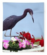Little Blue Heron In Flower Pot Fleece Blanket