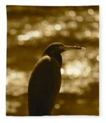 Little Blue Heron In Golden Light Fleece Blanket