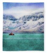 Little Boat In Reykjavik Bay Fleece Blanket