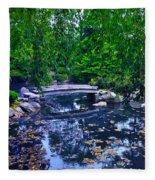 Little Bridge - Japanese Garden Fleece Blanket