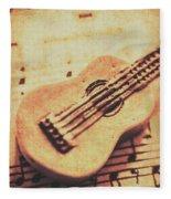Little Carved Guitar On Sheet Music Fleece Blanket