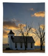 Little Church On The Prairie Fleece Blanket