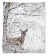 Little Doe In Snow Fleece Blanket