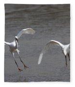 Little Egrets In Flight Fleece Blanket