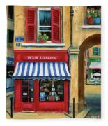 Little French Book Store Fleece Blanket